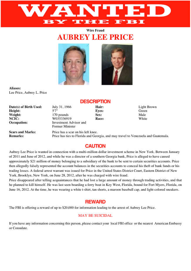 Price's appearance had changed considerably from the clean-cut image seen on his FBI wanted poster. Photo: Uncredited, HOPD / FBI