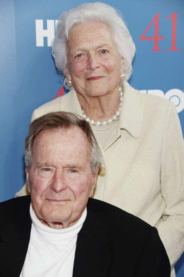 "FILE PHOTO: Mrs Bush aged 88 has been admitted to Houston Methodist hospital with pneumonia. KENNEBUNKPORT, ME - JUNE 12:  Film Subject President George H.W. Bush and his wife, Mrs. Barbara Bush attend the HBO Documentary special screening of ""41"" on June 12, 2012 in Kennebunkport, Maine.  (Photo by Michael Loccisano/Getty Images for HBO) Photo: Michael Loccisano, Staff / 2012 Getty Images"