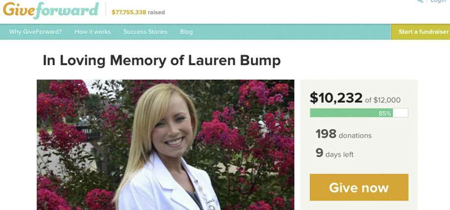 On the homepage of GiveForward is a photo of Lauren Bump, who was found dead on a paved trail at O.P. Schnabel Park just after 5:30 p.m. on Tuesday. Photo: Screengrab