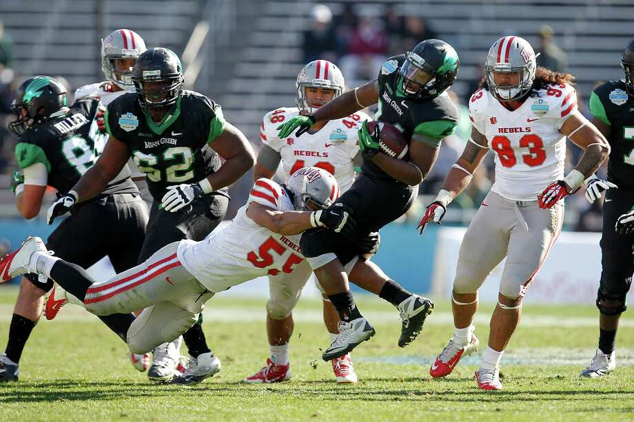 Brandin Byrd #24 of the North Texas Mean Green runs against the UNLV Rebels during the Heart of Dallas Bowl at Cotton Bowl Stadium on January 1, 2014 in Dallas, Texas. Photo: Sarah Glenn, Getty Images / 2014 Getty Images