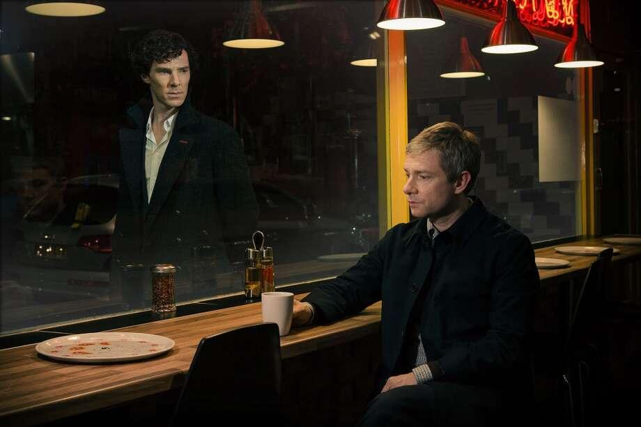Sherlock Holmes (Benedict Cumberbatch) and John Watson (Martin Freeman) in 'Sherlock' Season 3, premiering on Sunday, January 19th on PBS. Photo: Robert Viglasky/BBC