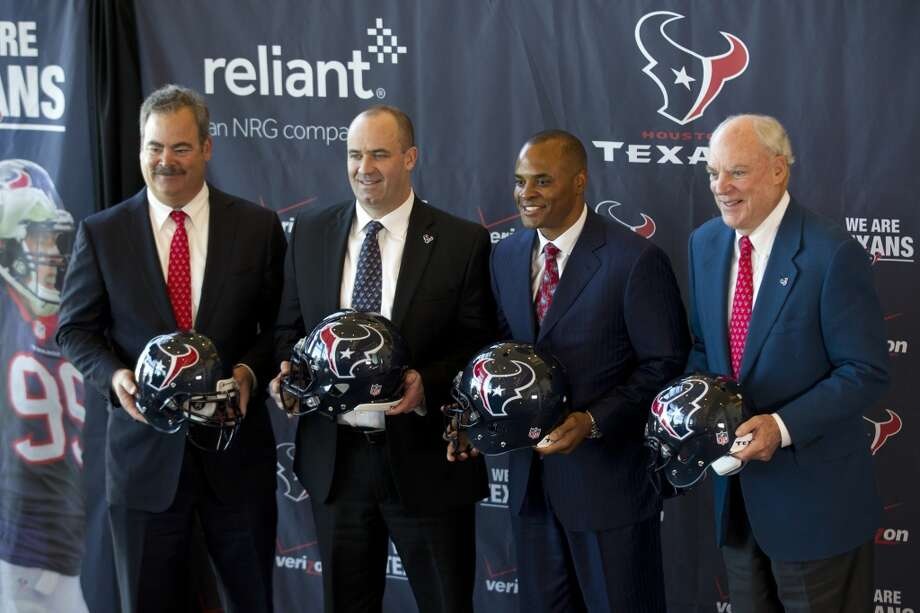 When it comes to shouldering the responsibility for the Texans' woes this season, does the blame fall on general manager Rick Smith (second from right) or coach Bill O'Brien (second from left)? Photo: Brett Coomer, Houston Chronicle