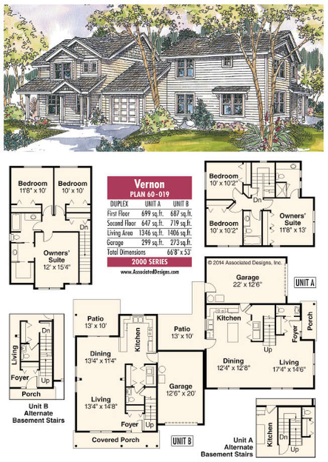 House plans vernon a different kind of duplex for One of a kind house plans