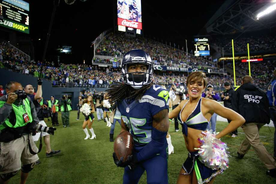 SEATTLE, WA - SEPTEMBER 15:  Cornerback Richard Sherman #25 of the Seattle Seahawks celebrates after making an interception in the second half against the San Francisco 49ers at CenturyLink Field on September 15, 2013 in Seattle, Washington. Photo: Otto Greule Jr, Getty Images / 2013 Getty Images