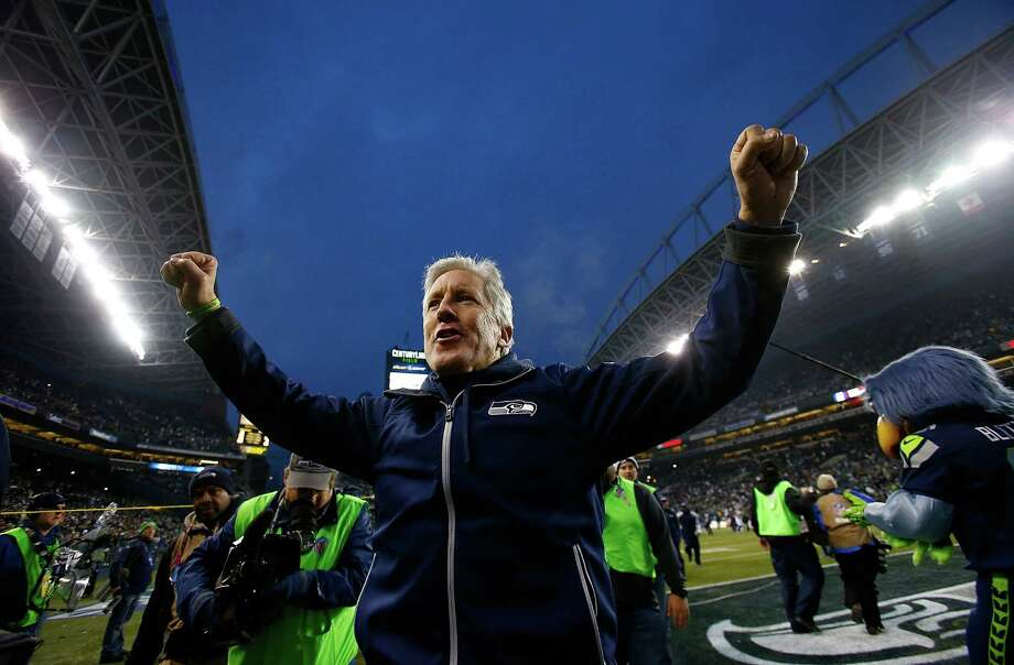 SEATTLE - DECEMBER 29:  Head coach Pete Carroll of the Seattle Seahawks celebrates after 27-9 victory over  the St. Louis Rams on December 29, 2013 at CenturyLink Field in Seattle, Washington. Photo: Jonathan Ferrey, Getty Images / 2013 Jonathan Ferrey