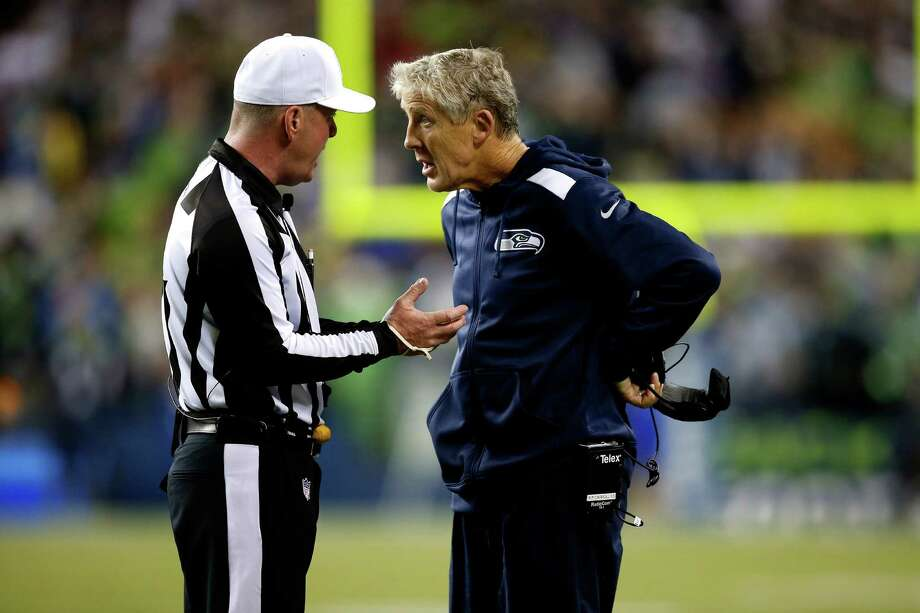 SEATTLE, WA - SEPTEMBER 15:  Head coach Pete Carroll of the Seattle Seahawks argues a call on the field against the San Francisco 49ers during their game at Qwest Field on September 15, 2013 in Seattle, Washington. Photo: Otto Greule Jr, Getty Images / 2013 Getty Images