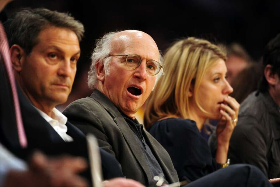Larry David at a Lakers game - why do so many people yawn with their eyes open? Photo: AAron Ontiveroz, Denver Post Via Getty Images