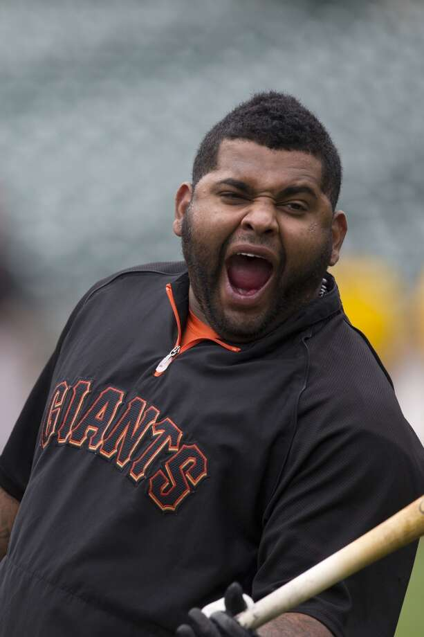 Pablo Sandoval of the San Francisco Giants could be yawning or yelling at batting practice. Photo: Jason O. Watson, Getty Images