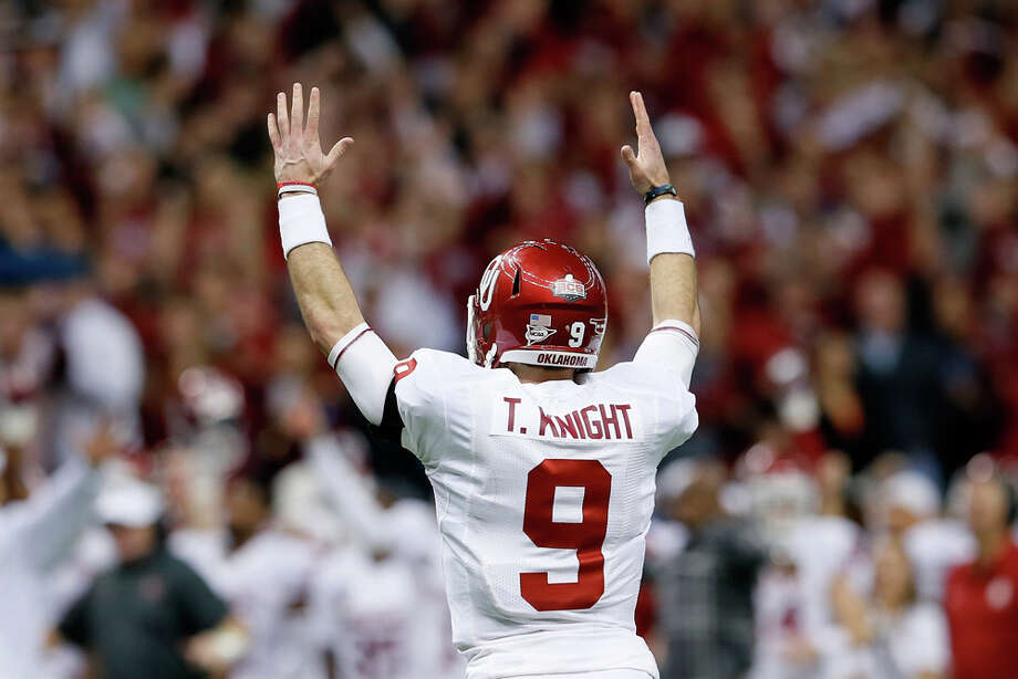Trevor Knight #9 of the Oklahoma Sooners reacts after a touchdown against the Alabama Crimson Tide during the Allstate Sugar Bowl at the Mercedes-Benz Superdome on January 2, 2014 in New Orleans. Photo: Kevin C. Cox, Getty Images / 2014 Getty Images