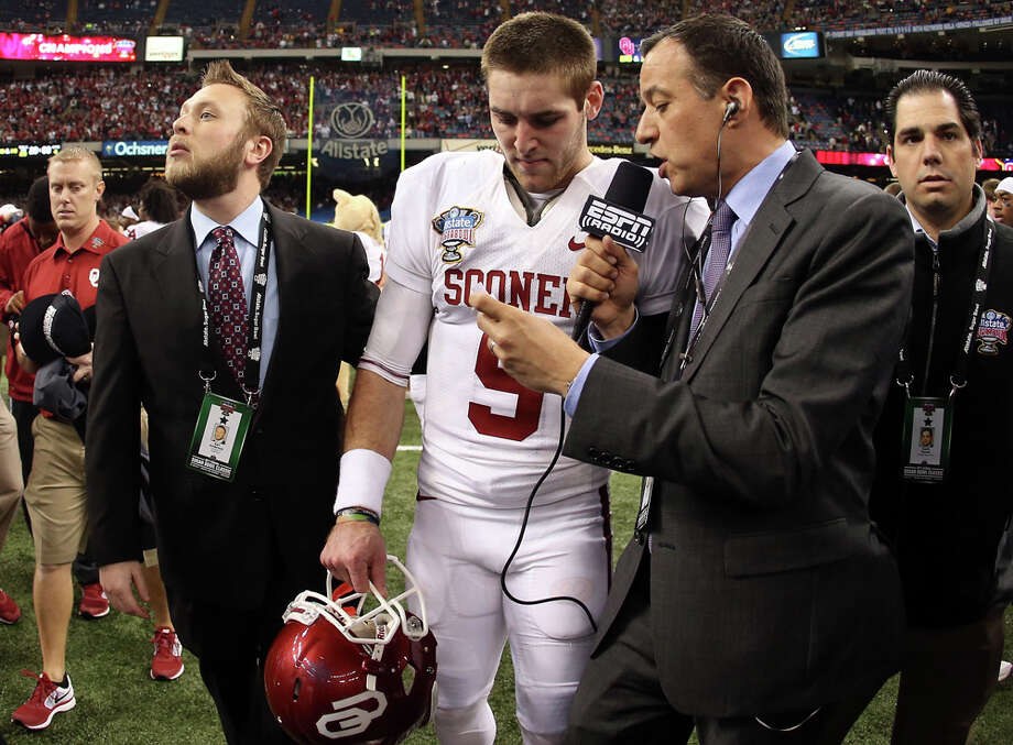 Trevor Knight #9 of the Oklahoma Sooners speaks to the media after defeating the Alabama Crimson Tide 45-31 in the Allstate Sugar Bowl at the Mercedes-Benz Superdome on January 2, 2014 in New Orleans. Photo: Sean Gardner, Getty Images / 2014 Getty Images