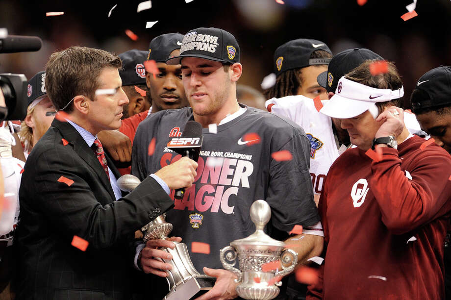 Trevor Knight #9 of the Oklahoma Sooners celebrates with the MVP trophy after defeating the Alabama Crimson Tide 45-31 during the Allstate Sugar Bowl at the Mercedes-Benz Superdome on January 2, 2014 in New Orleans. Photo: Stacy Revere, Getty Images / 2014 Getty Images