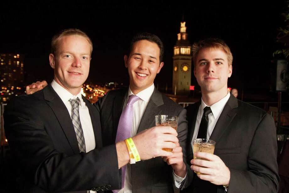 Charlie Pratt, Andrew Somberg and Danny Pritz at the Catch Me If You Can NYE Celebration at Hotel Vitale in San Francisco on December 31, 2013. Photo: Drew Altizer Photography