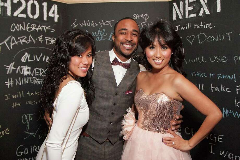 Maureen Hizon, Arthur Harris and Jacqueline Harris at the Catch Me If You Can NYE Celebration at Hotel Vitale in San Francisco on December 31, 2013. Photo: Drew Altizer Photography