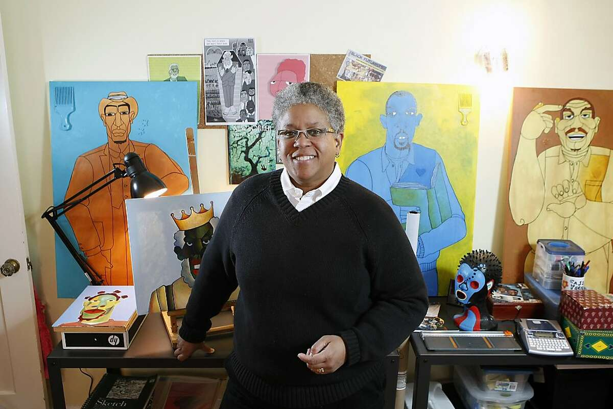 """College professor and artist and Ajuan Mance poses for a portrait in her studio at her home in Oakland, CA, Friday, January 3, 2014. Ajuan will be participating in an upcoming exhibition at the Richmond Art Center called """"The Art of Living Black"""" that will feature the works of more than 50 local artists of African descent."""