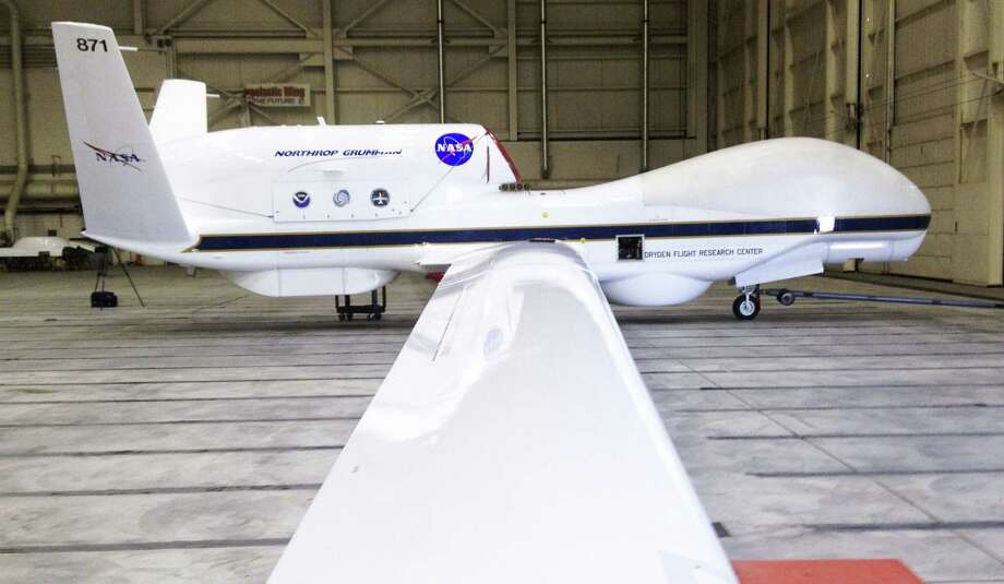 The Reaper drone, now known as a Global Hawk, at Edwards AFB in California. The Federal Aviation Administration announced Monday it will allow testing of commercial drones at sites including Texas A&M University-Corpus Christi. Photo: Richard Velotta / Associated Press / Las Vegas Sun