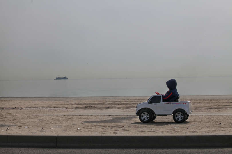 Joshua Alessandro Rosato, 4, of Bridgeport, drives his truck in Seaside Park in Bridgeport, Conn. on