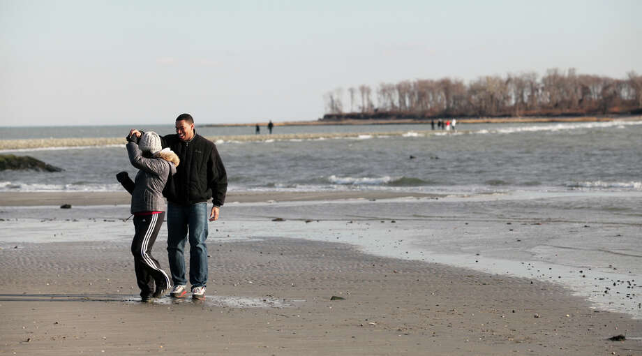 Payal and Jason Emery, of Milford, dance together at Silver Sands Sate Park in Milford, Conn, on Sunday, January 20, 2013. Photo: BK Angeletti, B.K. Angeletti / Connecticut Post freelance B.K. Angeletti
