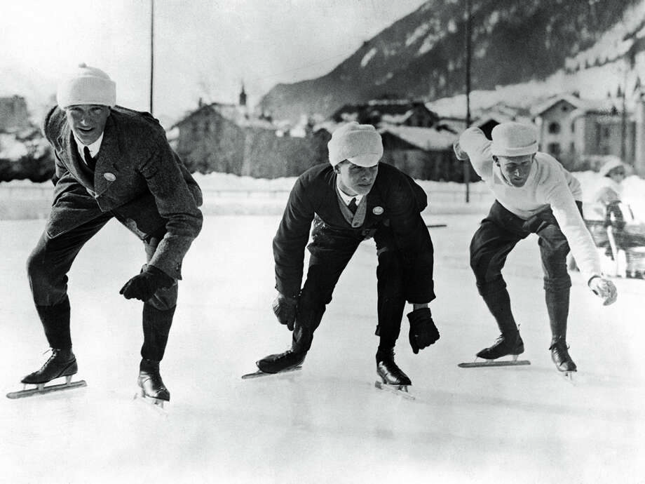 English speed skaters  B. H. Sutton (from left), L. H. Cambridgeshire and A. E. Tibbet practice before the Winter Olympic Games in Chamonix, France, on Jan. 16, 1924. Photo: Topical Press Agency, Getty Images / 2005 Getty Images