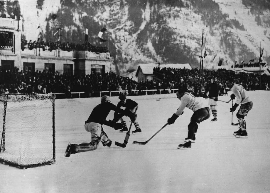 The Canadian ice hockey team, the Toronto Granites, scores during the 