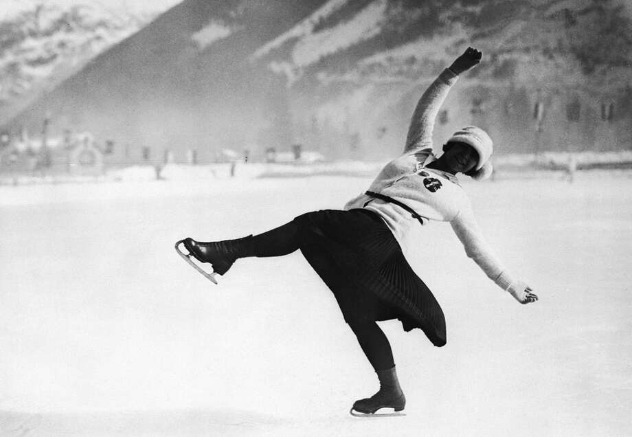 Herma Planck-Szabo of Austria skates on her way to winning the ladies' singles figure skating Olympic gold medal at the 1924 Chamonix Winter Olympics in January 1924. Photo: Topical Press Agency, Getty Images / Hulton Archive