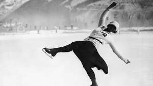 6th February 1924:  Herma Planck-Szabo of Austria on her way to winning the women's figure skating gold medal at the 1924 Chamonix Winter Olympics.