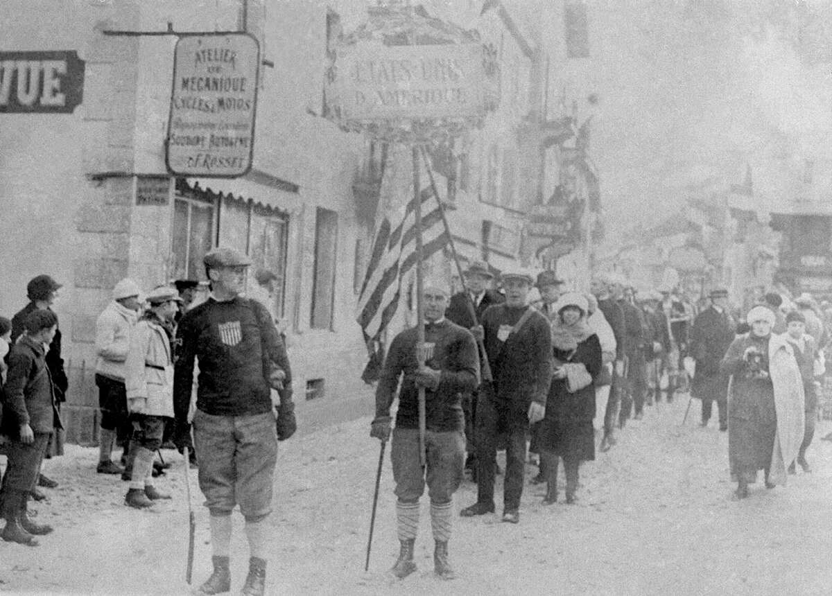 The United States is represented during opening ceremonies for the 1924 Winter Olympics in Chamonix, France, on Jan. 25, 1924.