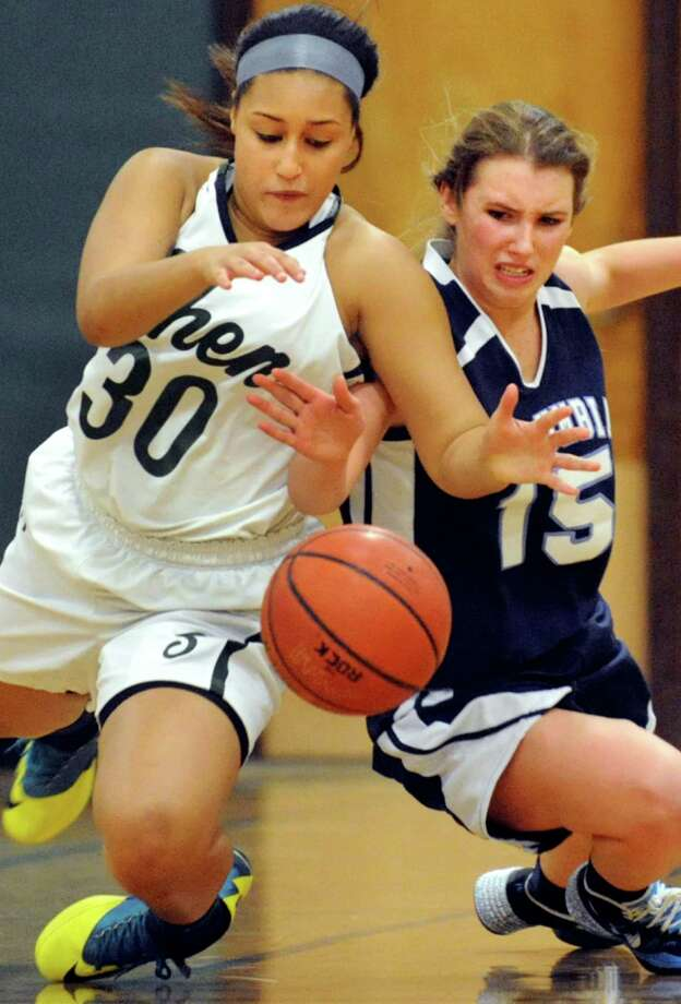 Shenendehowa's Samira Sangare, left, and Columbia's Mary Kate Jaromin battle for a loose ball during their basketball game on Saturday, Jan. 4, 2014, at Shenendehowa High in Clifton Park, N.Y. (Cindy Schultz / Times Union) Photo: Cindy Schultz / 00025247A