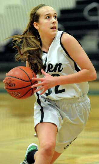 Shenendehowa's Carly Boland drives toward the hoop during their basketball game against Columbia on