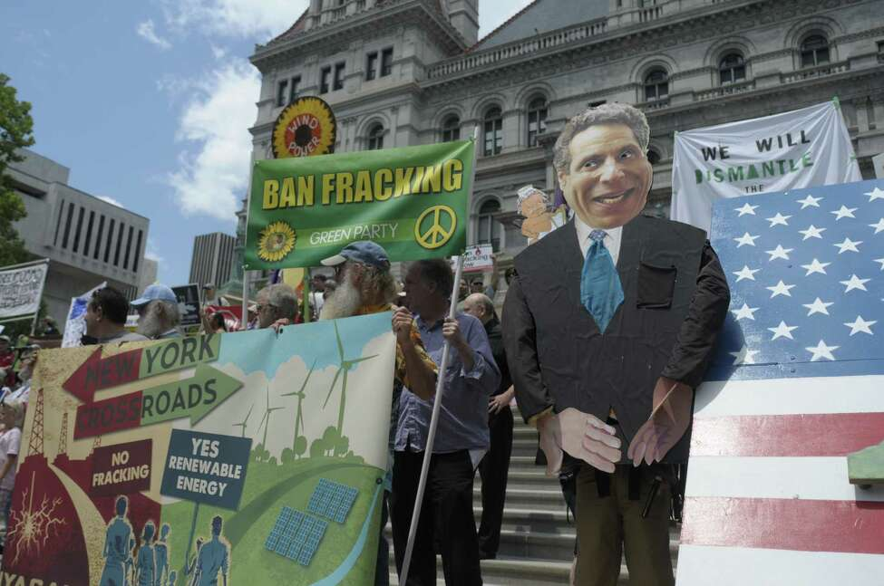 A large cutout of Governor Cuomo is on display during a rally outside the Capitol by Opponents of the natural gas drilling method known as fracking on Monday, June 17, 2013 in Albany, NY. The protestors called on Governor Andrew Cuomo to ban hydraulic fracturing in New York State. (Paul Buckowski / Times Union archive)