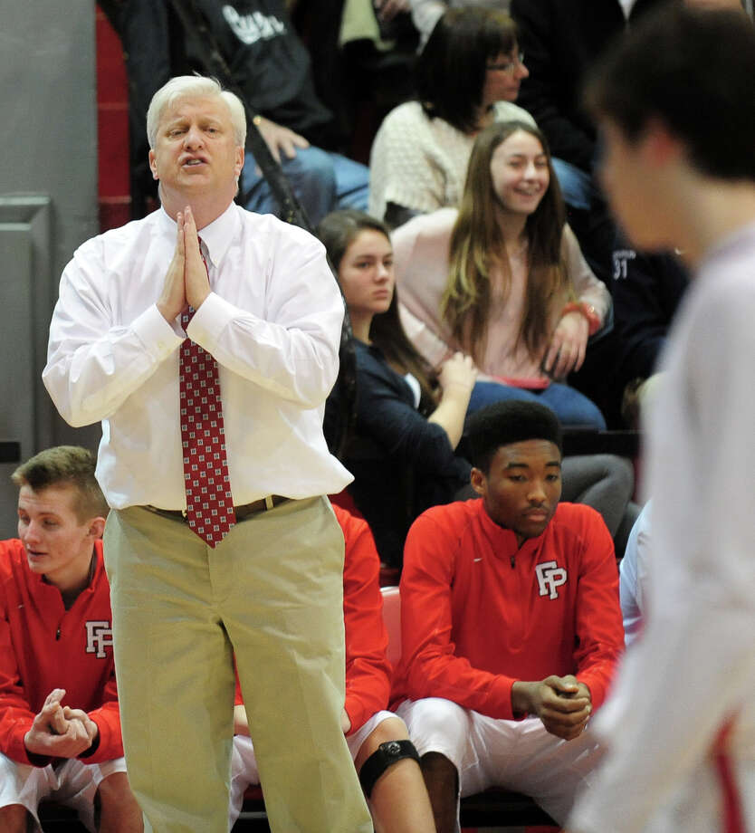 Fairfield Prep Head Coach Leo Redgate, during boys basketball action against Hillhouse in Fairfield, Conn. on Saturday January 4, 2014. Photo: Christian Abraham / Connecticut Post