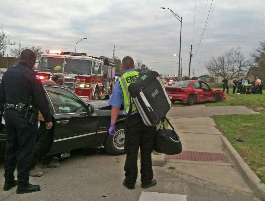 Three people were injured in a traffic collision Saturday at Martin Luther King Jr. Parkway and Harrison Street. Police said one of the drivers appeared to be intoxicated. Photo: Sarah Moore