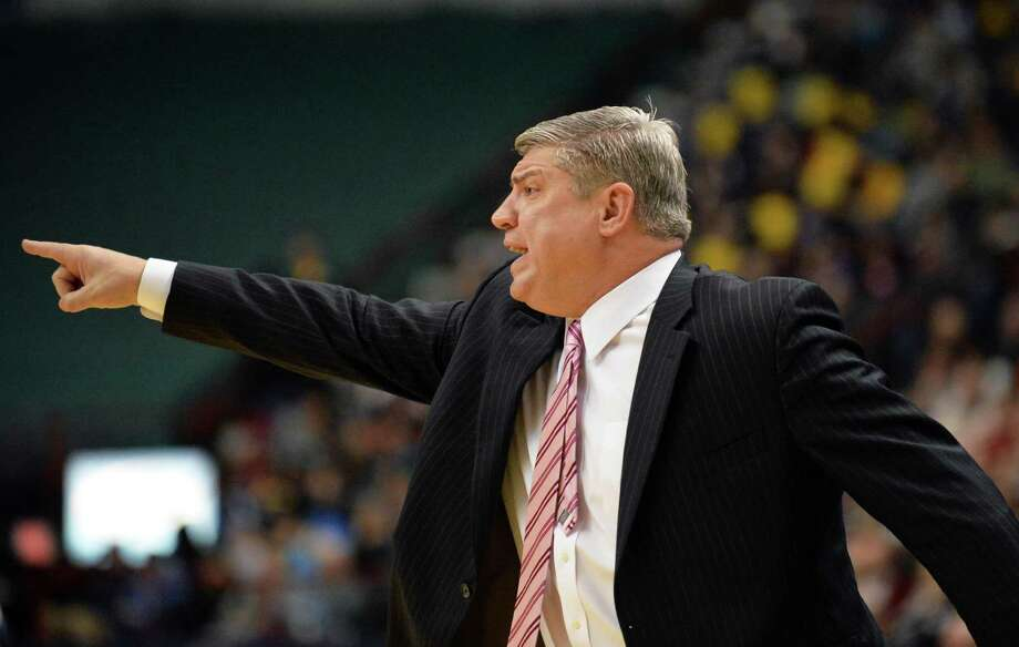 Siena head coach Jimmy Patsos calls out to players during Saturday's game against Rider at the Times Union Center Jan. 04, 2014, in Albany, NY.  (John Carl D'Annibale / Times Union) Photo: John Carl D'Annibale / 00025111C