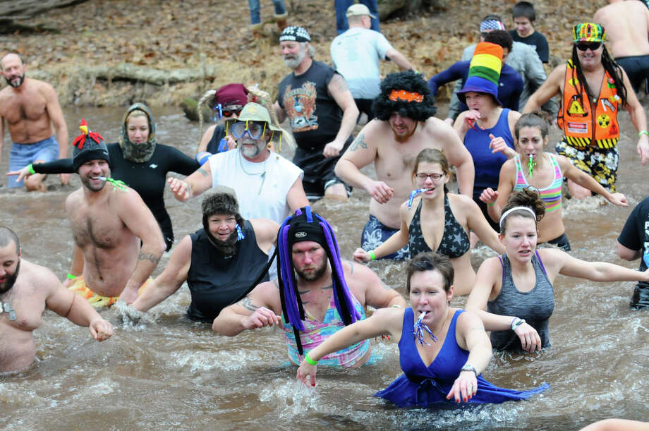 Thrill seekers make their way back to land after taking the plunge in the cold water during the 5th Annual Pine Creek Polar Bear Plunge in Valley View Park in Valley View, Pa., Wednesday, Jan. 1, 2014. The event is a benefit for the Pine Creek Trout Nursery. Pine Creek Trout Nursery is a cooperative of the Pennsylvania Fish & Boat Commission and the Valley View Gun Club. Each year, the nursery gets approximately 6,500 fish that are grown at the nursery and then used for a fishing rodeo and stocking local creeks. Photo: Jacqueline Dormer, AP  / THE REPUBLICAN-HERALD