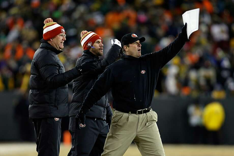 The 49ers' Jim Harbaugh clearly got a kick out of Sunday's victory in frigid weather in Wisconsin. After returning to the warmth of California, he was still raving about Colin Kaepernick's performance. Photo: Mike McGinnis, Getty Images