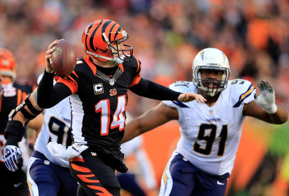 Wild Card Round Jan. 5: Chargers 27, Bengals 10  Bengals quarterback Andy Dalton passed for 334 yards a touchdown, but he threw two interceptions and lost a fumble in the second half as Cincinnati lost in the first round for the third straight season. Photo: Rob Carr , Getty Images
