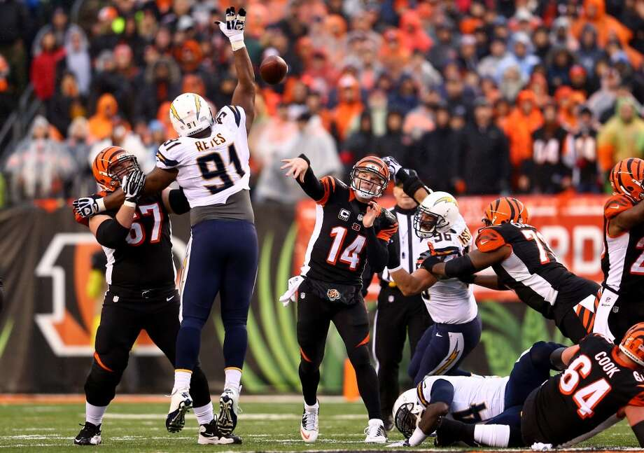 Andy Dalton puts up one of his 51 pass attempts in the loss. Photo: Andy Lyons, Getty Images