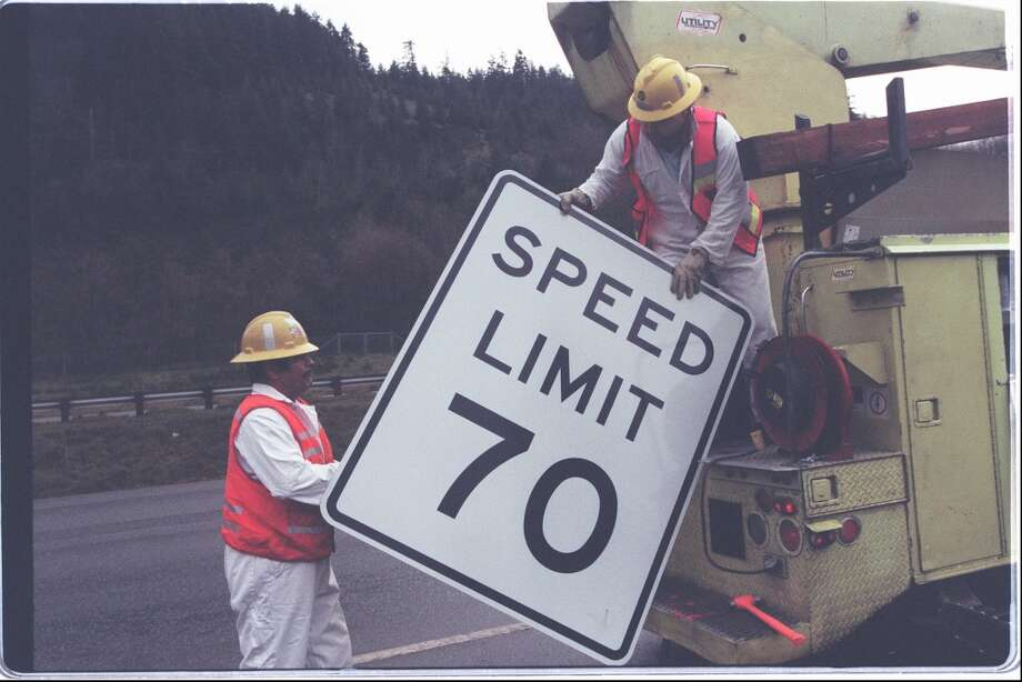 Q: At what point does a speed limit sign take effect? Is it when the driver obtains a visual of the sign, or is it an imaginary line you cross as you pass the sign?  A: It's the imaginary line when you cross as you pass the sign, according to State Patrol troopers.  Trooper Dan McDonald mentioned signs that changed the speed limit – 25 mph to 35 mph, or 60 mph to 70 mph on the freeway, for example. You should stay at the initial speed until you hit the sign with the new speed, he said. Photo: PHIL H WEBBER, Seattlepi.com File