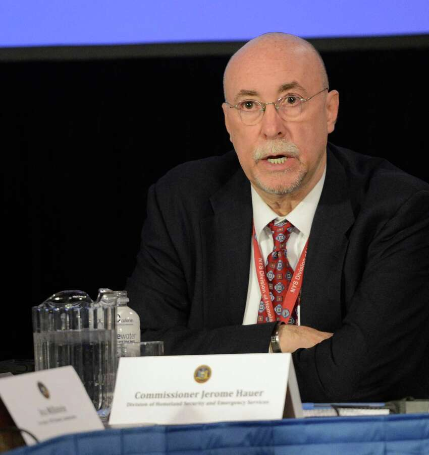 Jerome Hauer, Director of the NYS Div of Homeland Security and Emergency Services speaks during a cabinet meeting held Jan 3, 2013 by Governor Andrew Cuomo at the State Capitol in Albany, N.Y. (Skip Dickstein/Times Union)