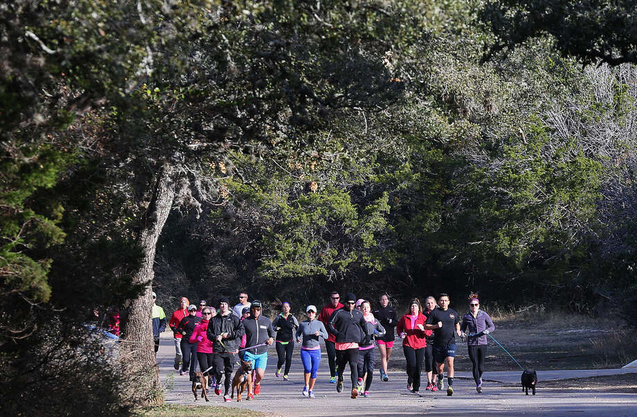 Runners and their dogs participate in a one-mile run Sunday at O.P. Schnabel Park in honor of Lauren Bump, a 24-year-old college student who was stabbed to death in the park on New Year's Eve. Police arrested a suspect in the case Friday. Photo: Photos By Jerry Lara / San Antonio Express-News / © 2014 San Antonio Express-News