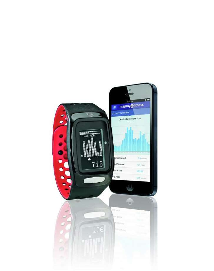 Sync provides activity trackers, GPS watchers, heart rate straps, and fitness bands. The Burn fitness band, pictured, tracks calories burned, heart rate, distance, and steps. It has a workout timer, stopwatch, backlight, and date/time information. Photo: Sync, Facebook