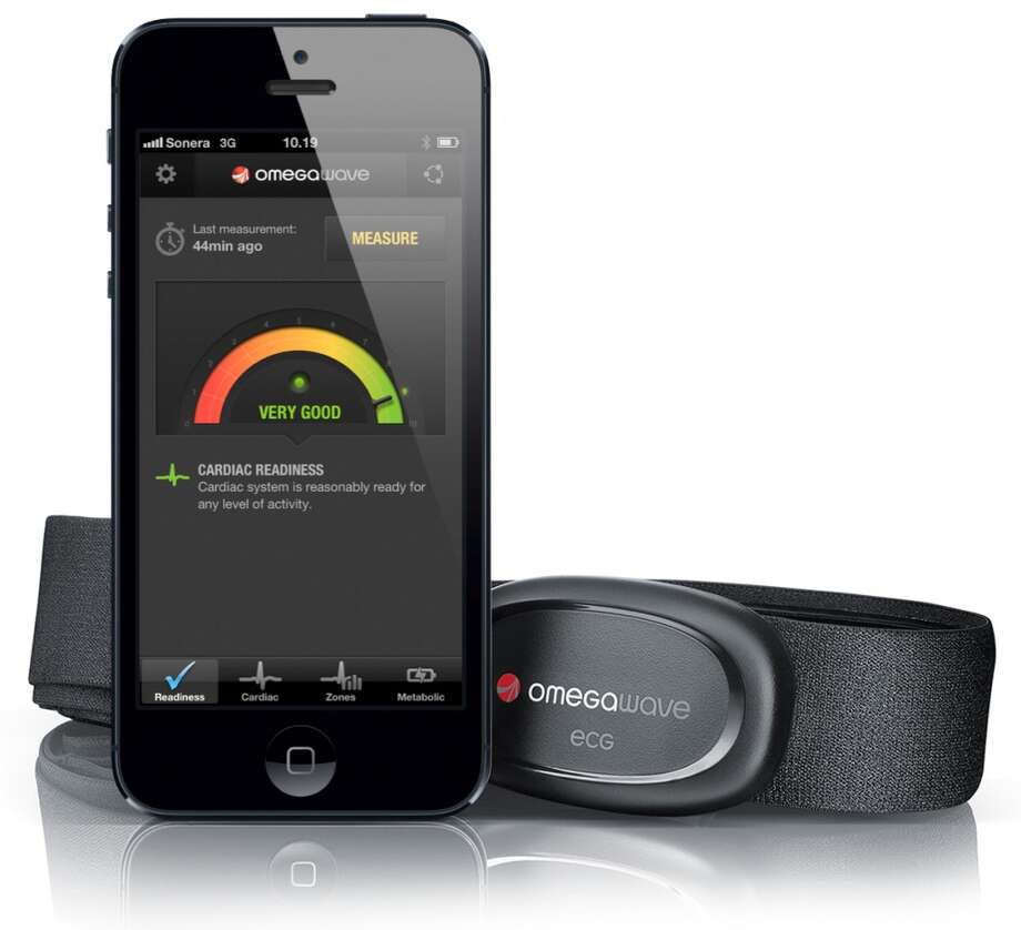 Omegawave Personal uses an iPhone or Android app paired with an ECG chest strap to measure the wearer's cardiac and metabolic readiness in two minutes.  It then offers training and recovery advice. Omegawave's goal is to reduce risk of injury and help athletes maximize their workouts. Photo: Omegawave, Facebook