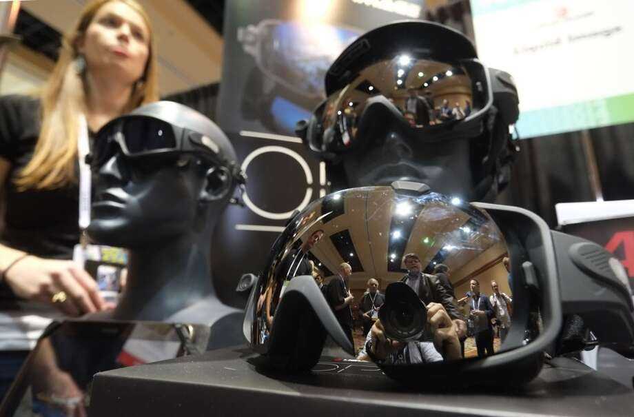 Liquid Image's googles with built in cameras on display. Photo: JOE KLAMAR, AFP/Getty Images
