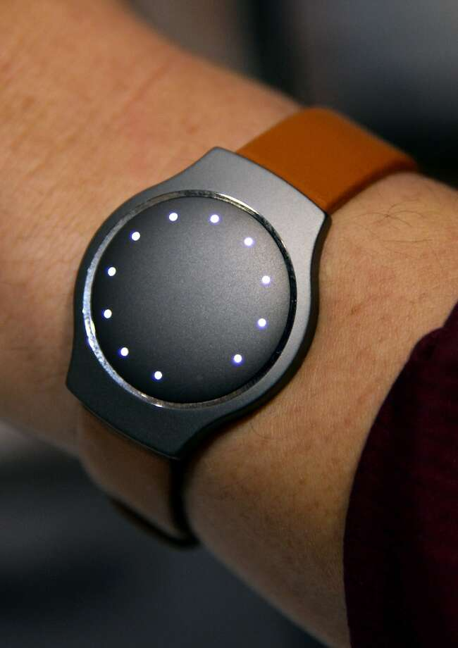 The Shine physical activity monitor by Misfit is displayed at a press event at the Mandalay Bay Convention Center for the 2014 International CES. Photo: Ethan Miller, Getty Images