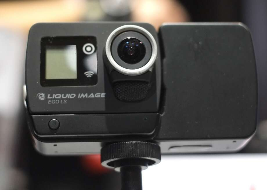 Liquid Image's EGO LS ,8-megapixel camera iWiFi enabled with Bluetooth for remote control use and audio capability and 4G LTE module, on display during  the first press event 'CES Unveiled.' Photo: JOE KLAMAR, AFP/Getty Images