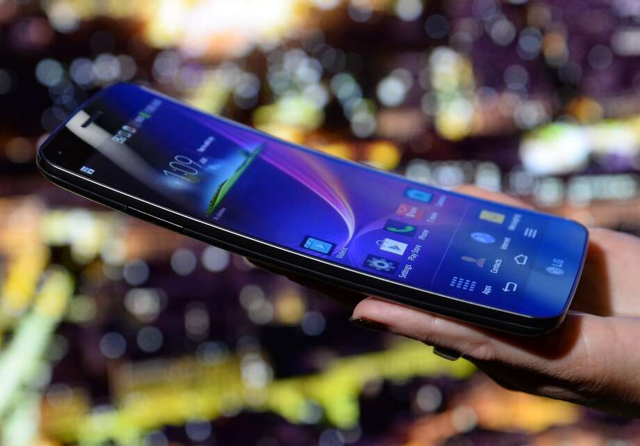 The LG Electronics LG G Flex phone is shown at a CES press. Photo: Ethan Miller, Getty Images
