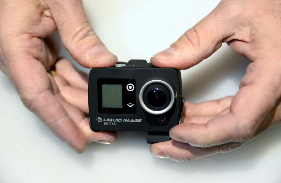 Liquid Image's EGO LS wearable camera is displayed during a CES press event. Photo: Ethan Miller, Getty Images