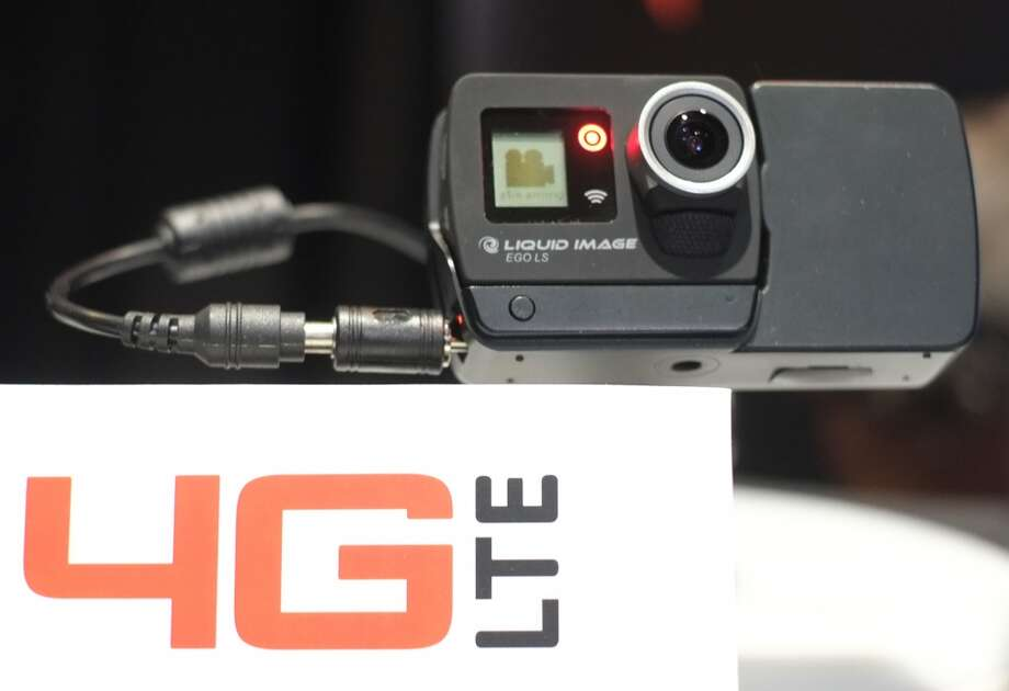 Liquid Image's EGO LS ,8-megapixel camera iWiFi enabled with Bluetooth for remote control use and audio capability and 4G LTE module, on display. Photo: JOE KLAMAR, AFP/Getty Images