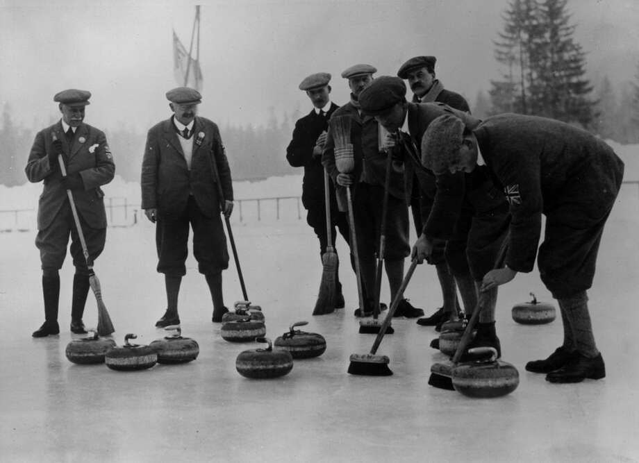 The British curling team practices during the Winter Olympics in Chamonix, France, on Jan. 28, 1924. Photo: Topical Press Agency, Getty Images / Hulton Archive