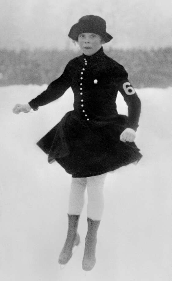 Norwegian figure skater Sonja Henie practices during the Winter Olympic Games on Jan. 29, 1924. Photo: STAFF, Getty Images / 2013 AFP