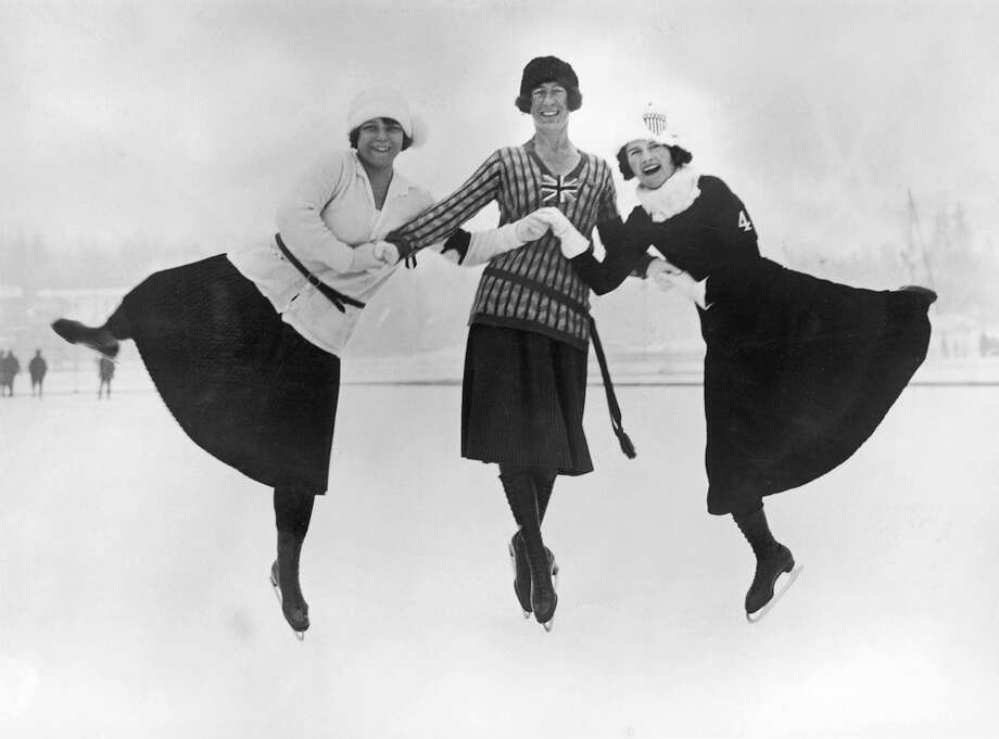 The Olympic medalists in figure skating are seen at the Winter Olympics in Chamonix, France, in 1924. Herma Planck-Szabo (from left) of Austria won gold, Ethel Muckelt of Britain won bronze and Beatrix Loughran of the United States won silver. Photo: Topical Press Agency, Getty Images / 2005 Getty Images